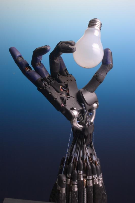 Robot Hand med glödlampa